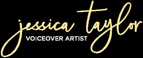 Jessica Taylor Voiceover Artist Yellow Logo _ White tagline - trans bg