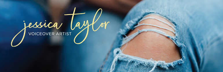 Jessica Taylor Voiceover Artist mobile banner (torn jeans and yellow script logo